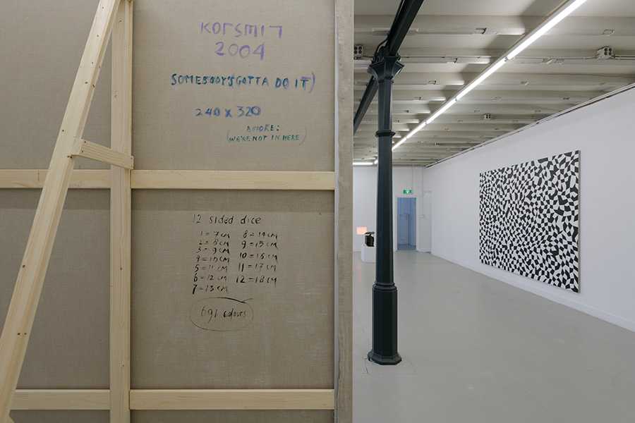 Installation view Club Solo, first floor, 2018 with from left to right:<br /> backside 'Somebody's gotta do it (we're not in here)', 'Sssh, part 1 & 2' and <br /> 'Don't worry about me'.  - Click image to continue.